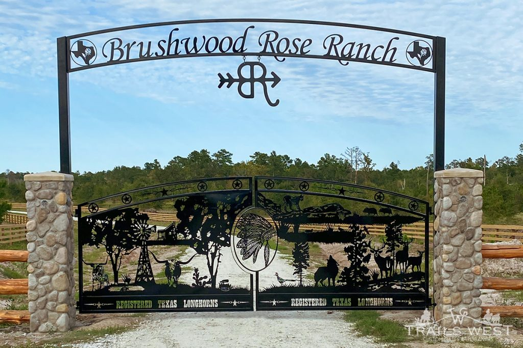 Artistic Driveway Gate - Ranch Entrance - Trails West Gate Company