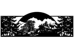 mountain themed gate, colorado gate