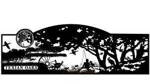 fishing scene gate - custom artwork for entrance iron gate