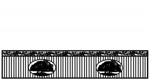 vertical pipe gate with tree artwork in two circles and leaf top border