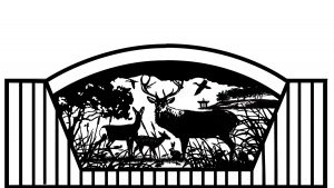 vertical pipe iron gate with double arch and deer artwork scene