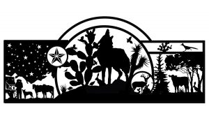howling wolf scene with cactus artwork for entrance gate