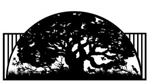 large tree half circle artwork with vertical iron piping gater