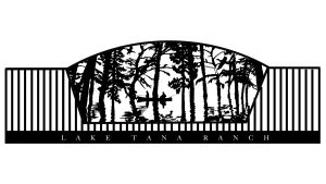 trees in front of a lake gate design