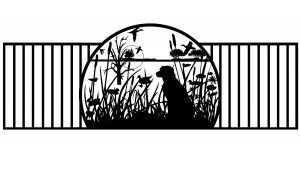 dog and lake fishing artwork for custom gate design