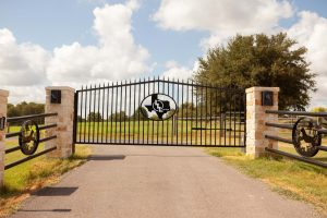 vertical pipe gate with texas shape art