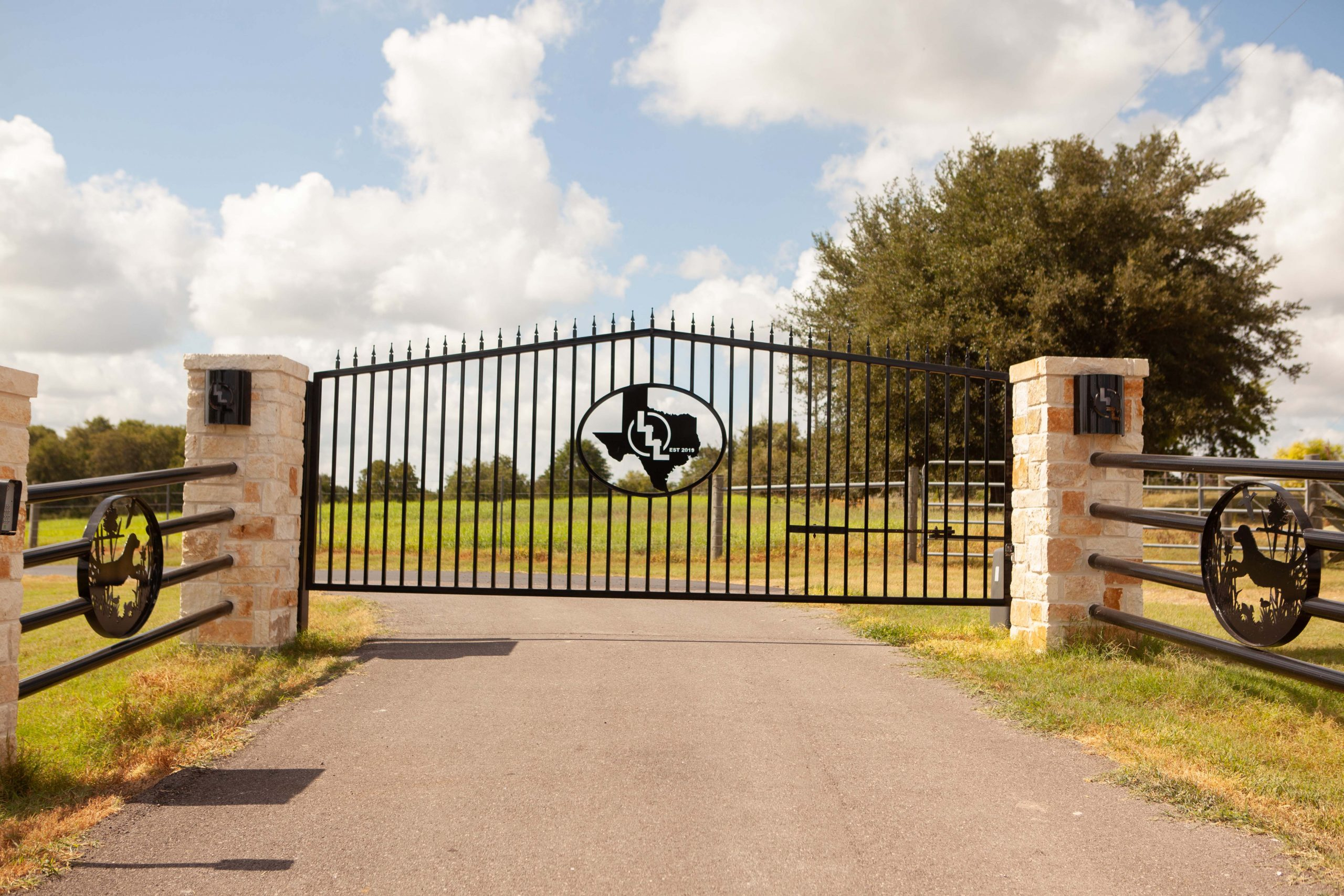 Custom Branded Ranch Gate - Automatic Iron Gate Entrance