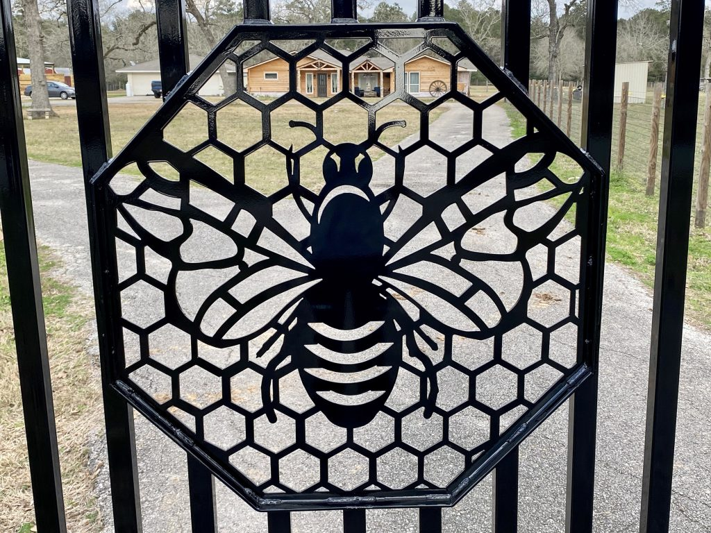 custom ranch gate, unique, beehive, bees, bee gate